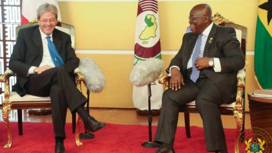 Il presidente del Consiglio Gentiloni in Ghana con Akufo Addo